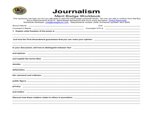 Journalism Merit Badge Worksheet For 5th 12th Grade Lesson Planet