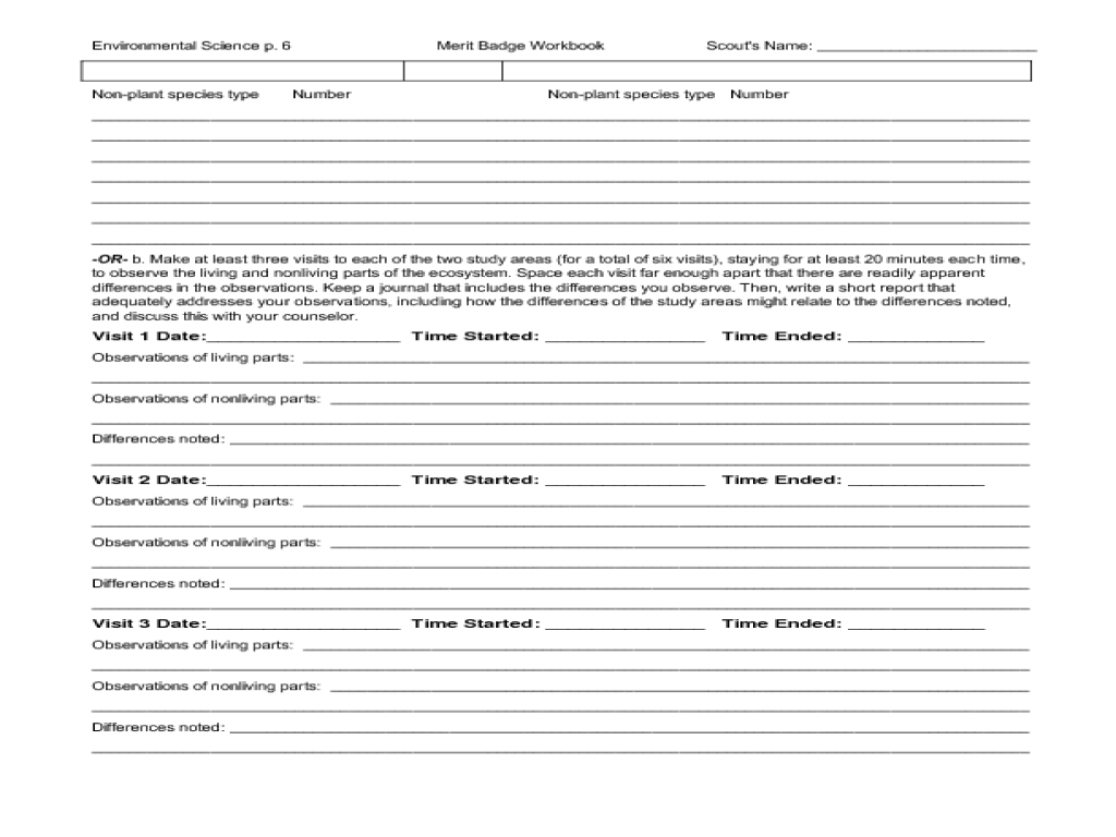 Environmental Science Merit Badge Worksheet For 5th