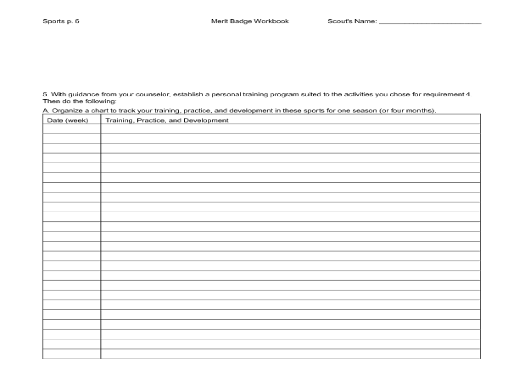 Sports Merit Badge Workbook Worksheet For 5th 7th Grade
