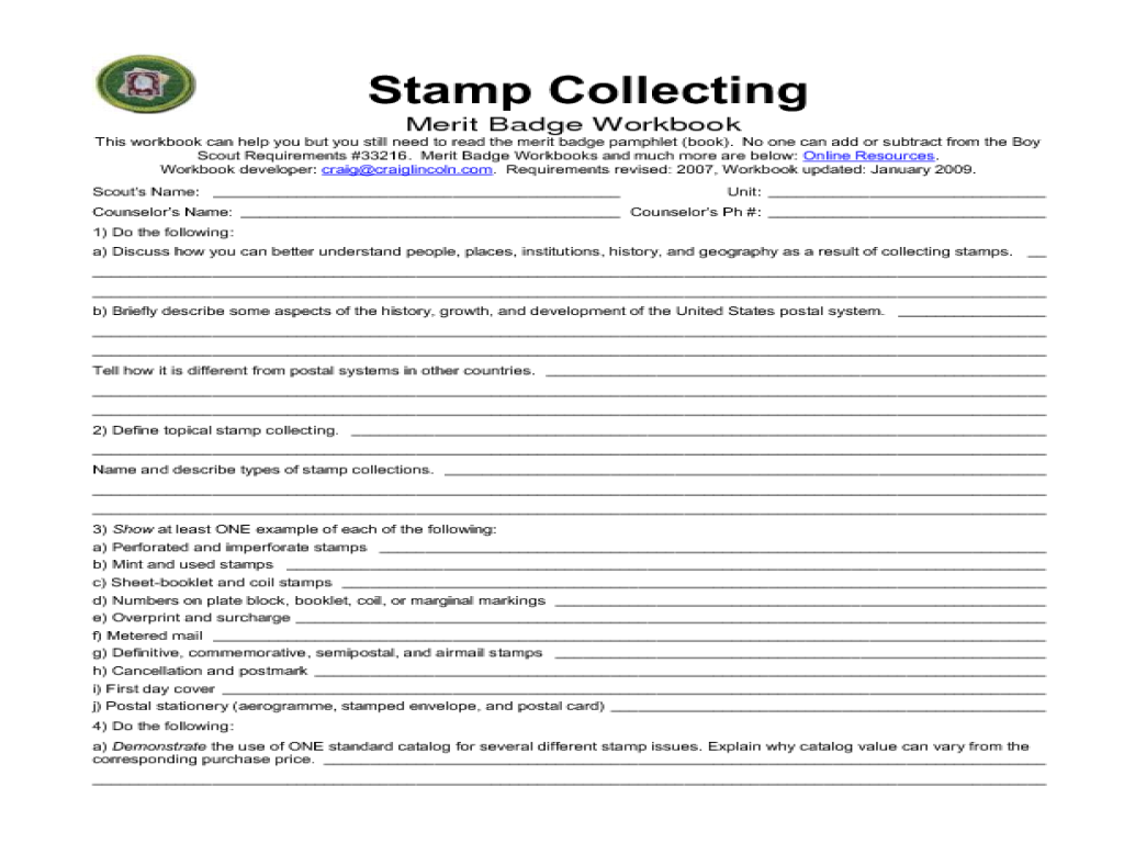 Boy Scout Merit Badge Stamp Collecting Worksheet For 8th