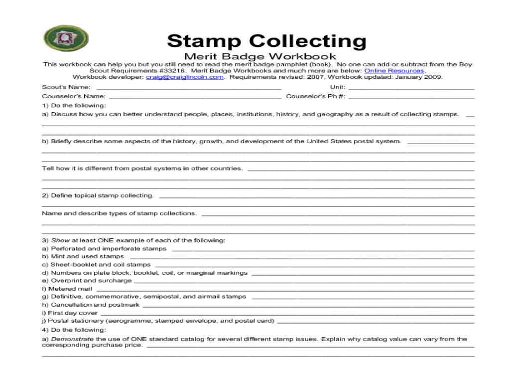 Pioneering Merit Badge Worksheet Worksheets for all | Download and ...