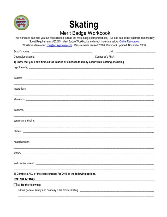 Boy Scout Personal Fitness Merit Badge Worksheet - Worksheets for ...