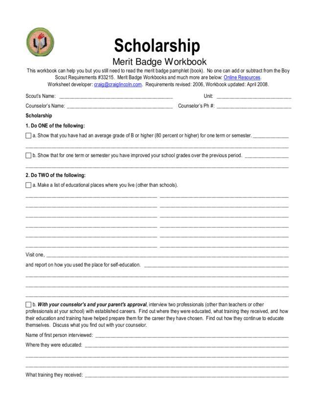 Scholarship Merit Badge Worksheet For 9th 12th Grade