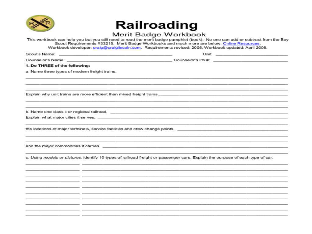 Worksheets Merit Badge Worksheet railroading merit badge 5th 12th grade worksheet lesson planet