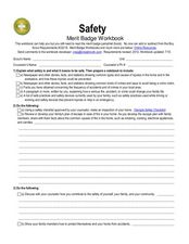 Safety: merit badge Worksheet