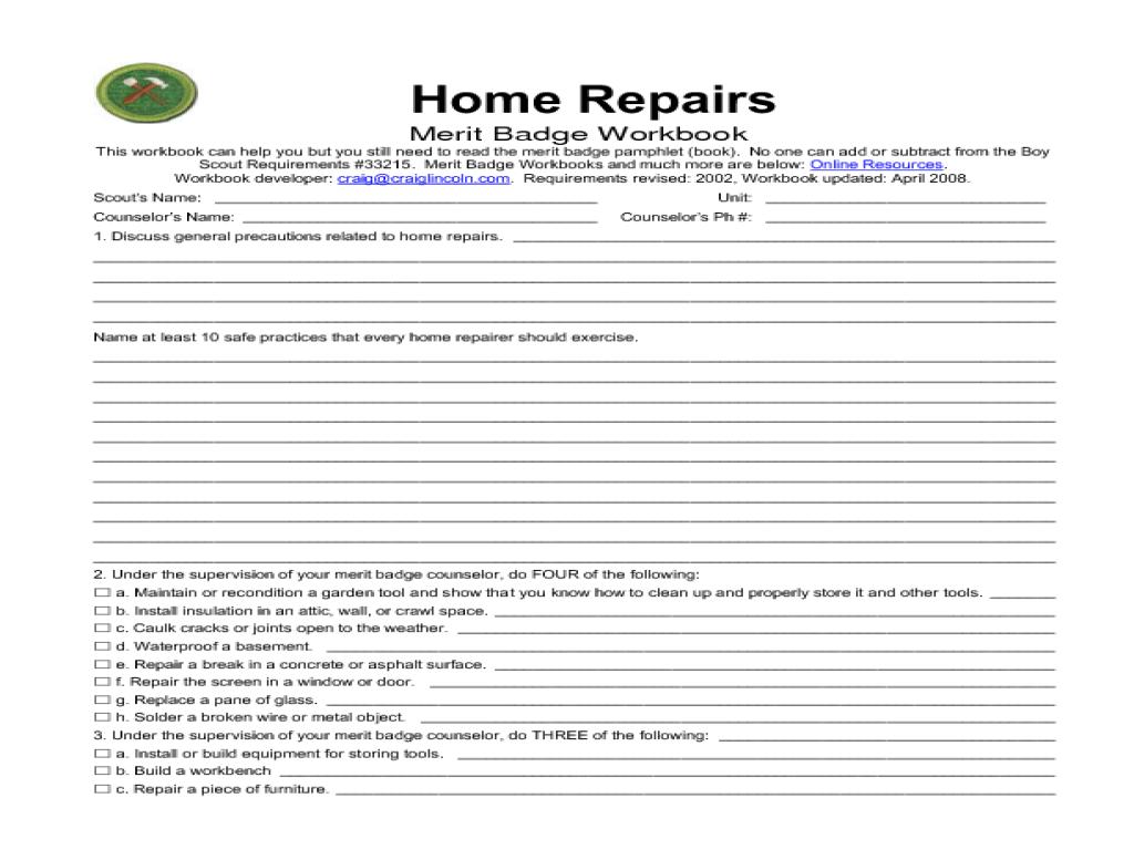 Home Repairs Merit Badge Worksheet For 5th 12th Grade