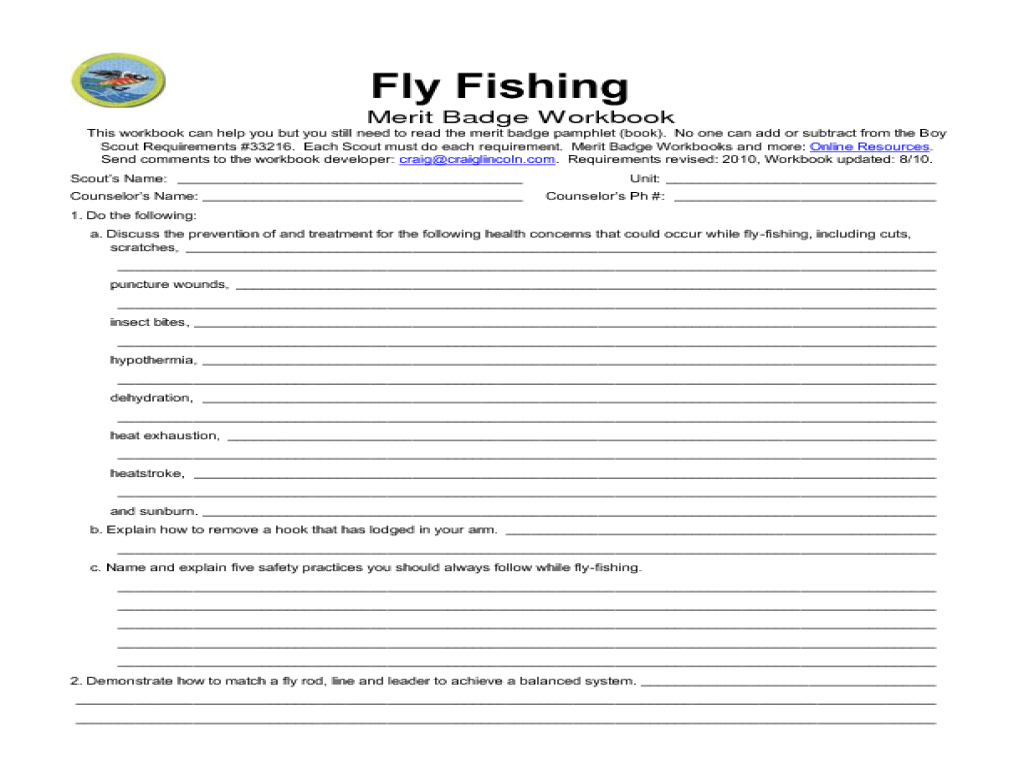 Boy Scout Merit Badge Fly Fishing 8th Grade Worksheet – Fishing Merit Badge Worksheet