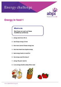 Energy in Food Worksheet