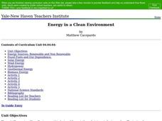 Energy in a Clean Environment Lesson Plan