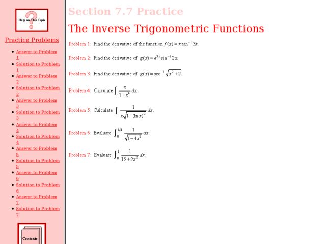 The Inverse Trigonometric Functions Worksheet For 12th