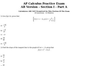AP Calculus Practice Exam AB Version-Section1-Part 1 Worksheet