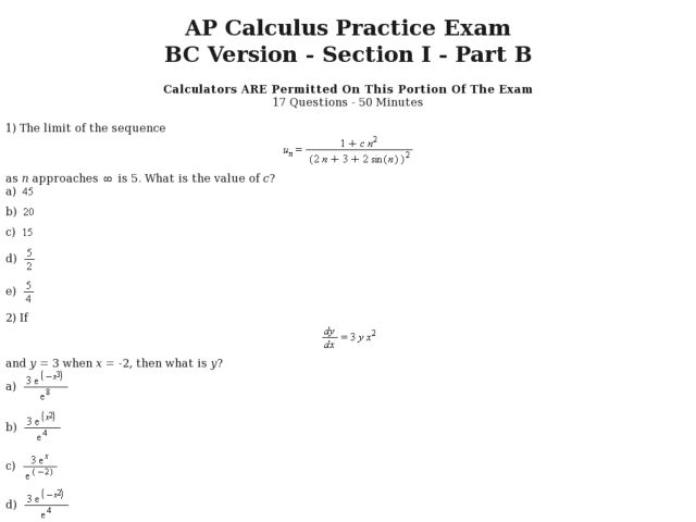Seventeen Multiple Choice Calculator AP Calculus BC Practice Test – Calculus Worksheet