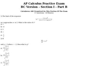 AP Calculus Practice Exam BC Version: Part B Worksheet