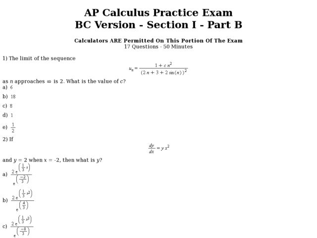 AP Calculus Practice Exam BC Version: Part B Worksheet for 11th ...