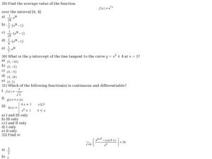 Sixteen Multiple Choice AP Calculus BC Exam Preparation Questions Worksheet