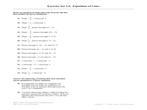 Exercise Set 2.4: Equations of Lines Worksheet