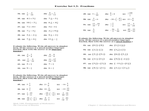 Exercise Set: Fractions Lesson Plan