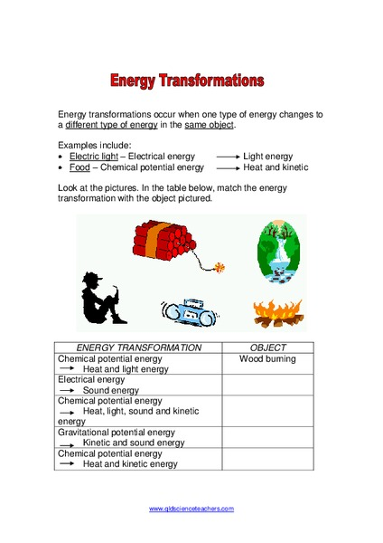 Energy Transformations Worksheet for 4th - 8th Grade | Lesson Planet