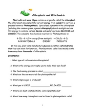Chloroplast lesson plans worksheets lesson planet chloroplasts and mitochondria worksheet ccuart Images