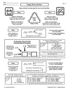 Energy, Work, and Power Worksheet