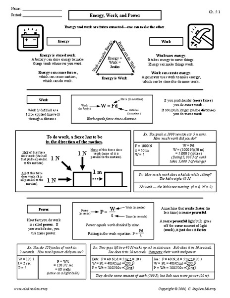 Energy Work And Power Worksheet For 10th 12th Grade