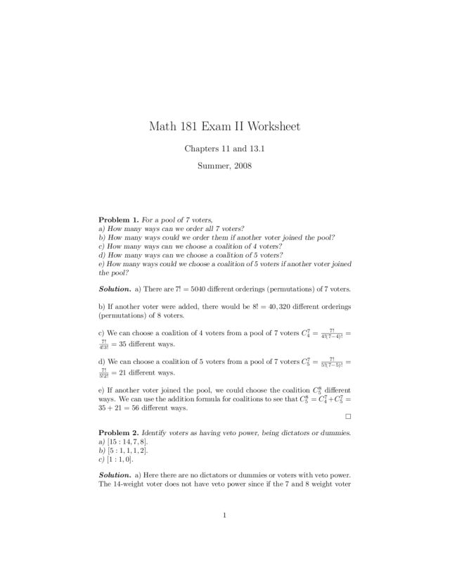 Ten Permutation And Combination Word Problems Worksheet