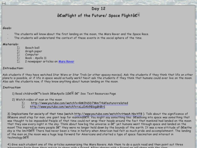 Flight of the Future/Space Flight Lesson Plan