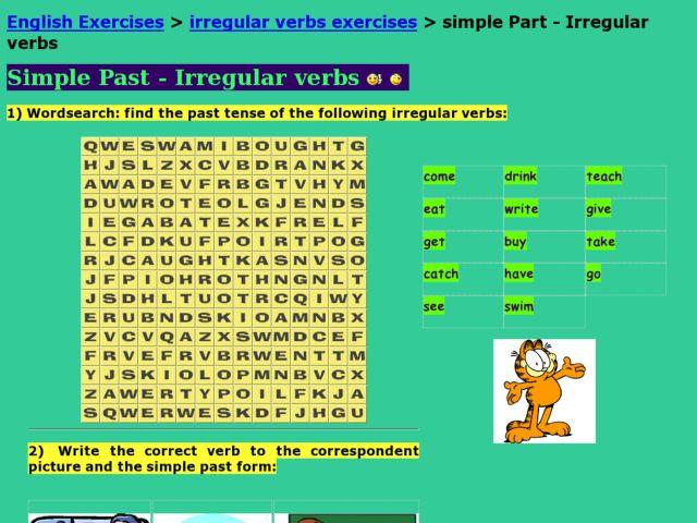 ESL: Simple Past Irregular Verbs Worksheet for 3rd - 5th