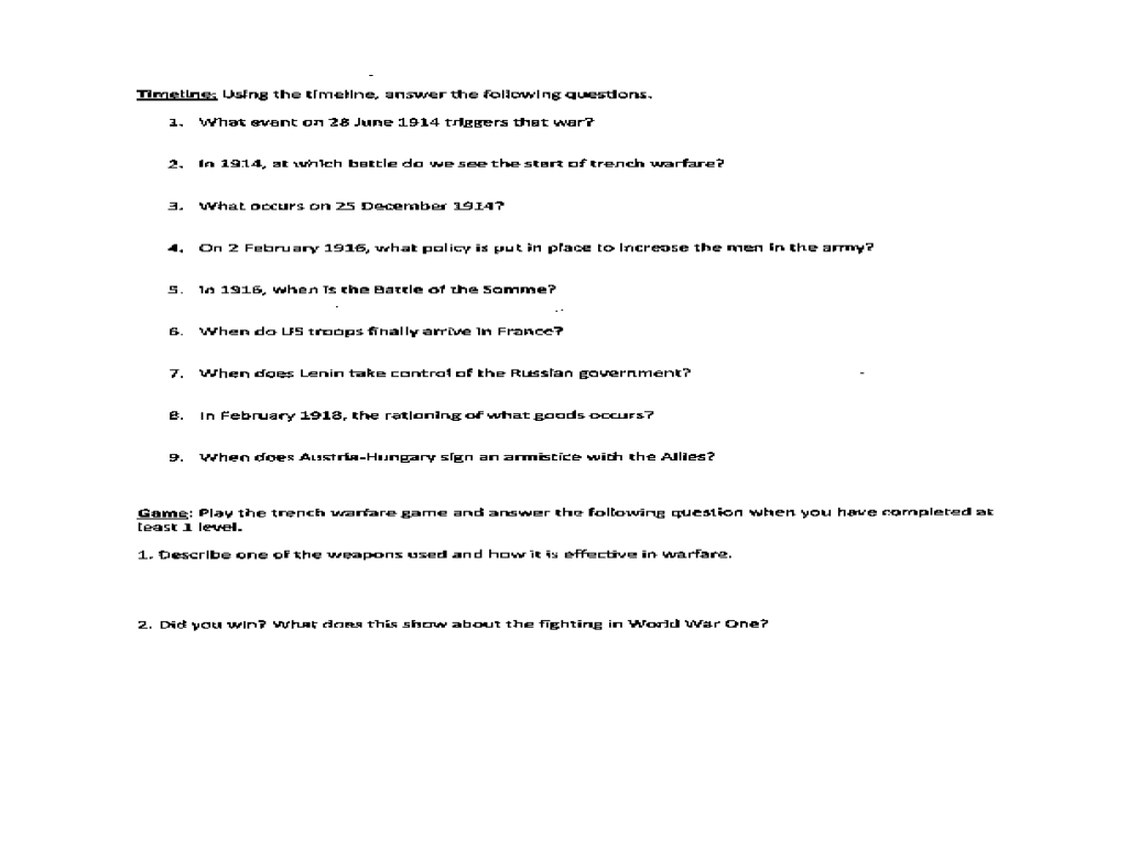 Life in the Trenches Webquest Worksheet for 9th - 12th Grade ...