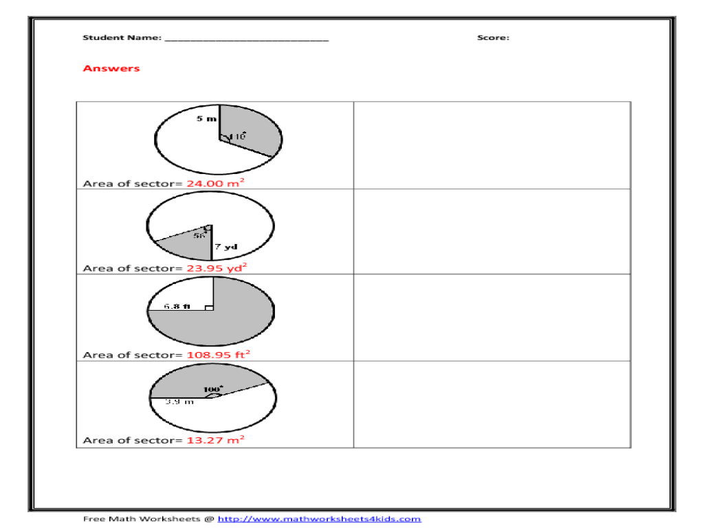 Area Of Sector Worksheet Worksheet For 6th 8th Grade