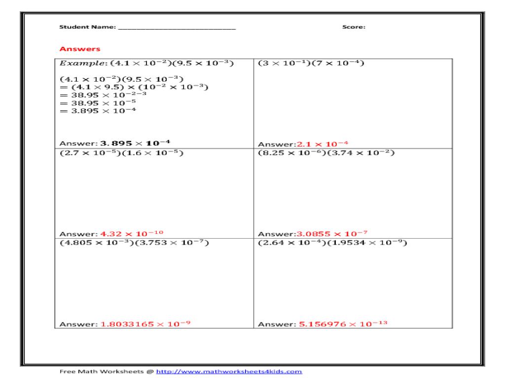 Worksheet Multiplying And Dividing Scientific Notation Worksheet