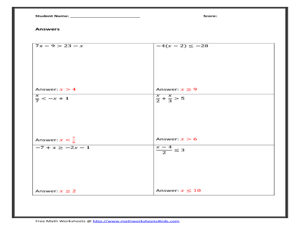 Solve Two Step Inequalities Worksheet for 9th   11th Grade ...