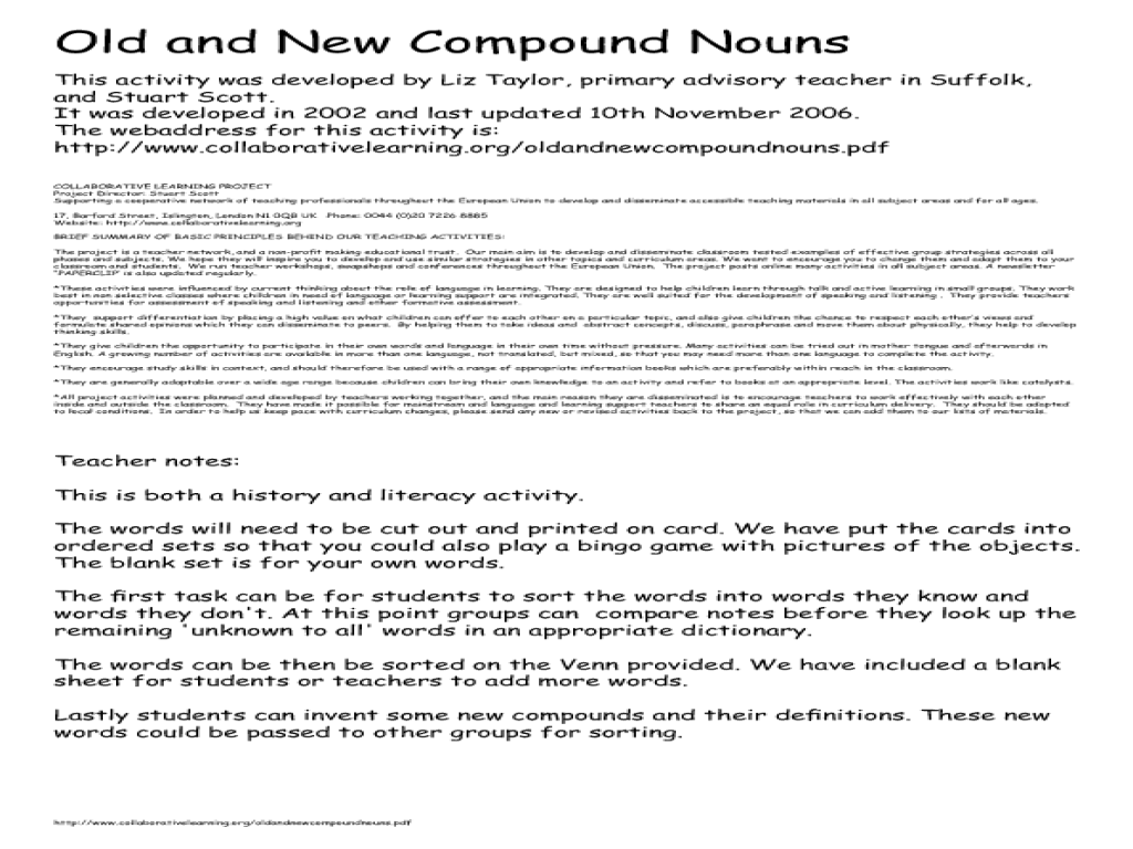 Old And New Compound Nouns Graphic Organizer For 3rd