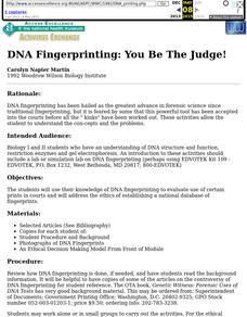 DNA Fingerprinting:  You Be the Judge! Lesson Plan