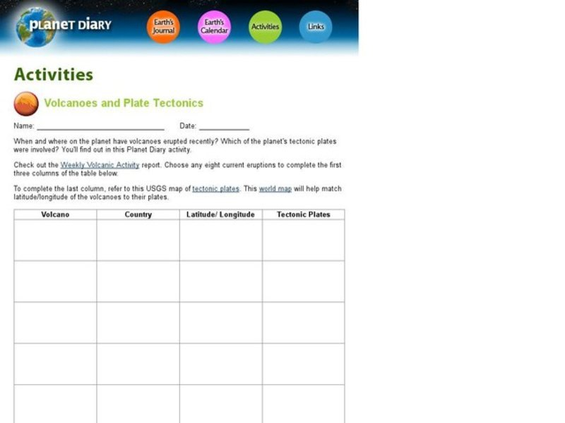 Volcanoes And Plate Tectonics Interactive For 6th 9th