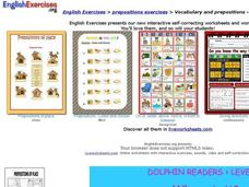 English Exercises: Prepositions Exercises - Level One Interactive