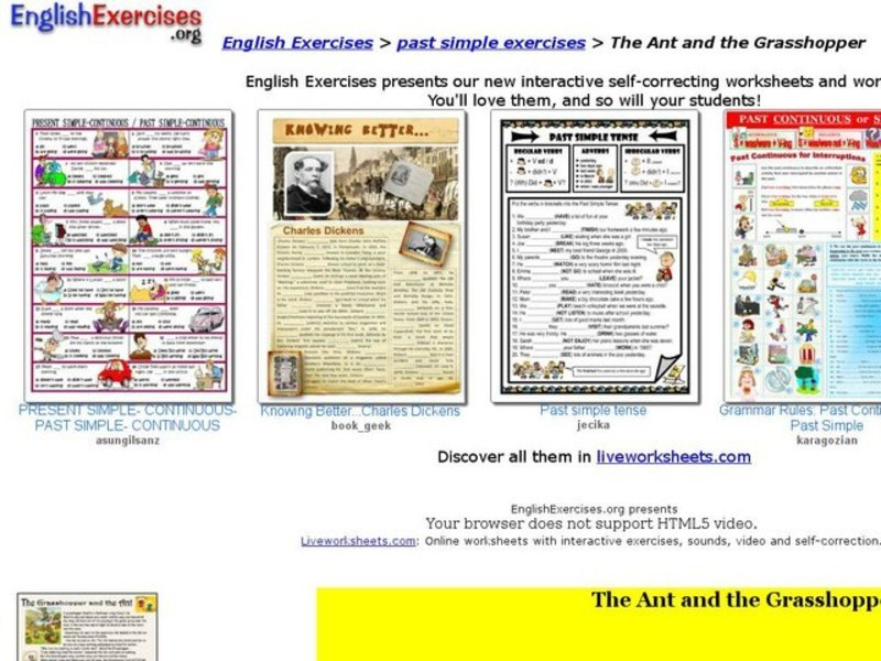 Printable Worksheets the grasshopper and the ant worksheets : English Exercises: Past Simple with the Ant and the Grasshopper ...