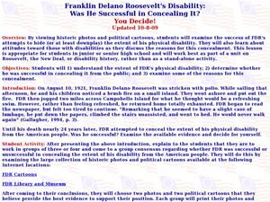 Franklin Delano Roosevelt's Disability: Was He Successful in Concealing It? Lesson Plan