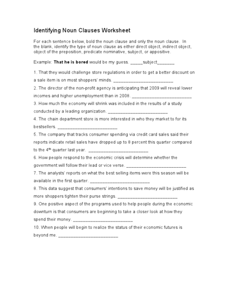 Identifying Noun Clauses Worksheet Lesson Plan