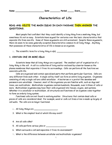 Characteristics Of Life Worksheet: Characteristics of Life 9th   10th Grade Worksheet   Lesson Planet,