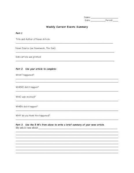 Weekly Current Events Summary Worksheet For 7th 12th
