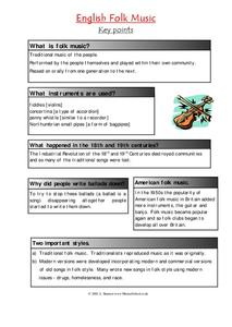 English Folk Music Worksheet