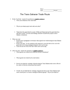The Trans Saharan Trade Route 6th - 9th Grade Worksheet | Lesson ...