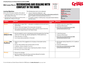 Recognizing and Dealing with Conflict in the Home Worksheet