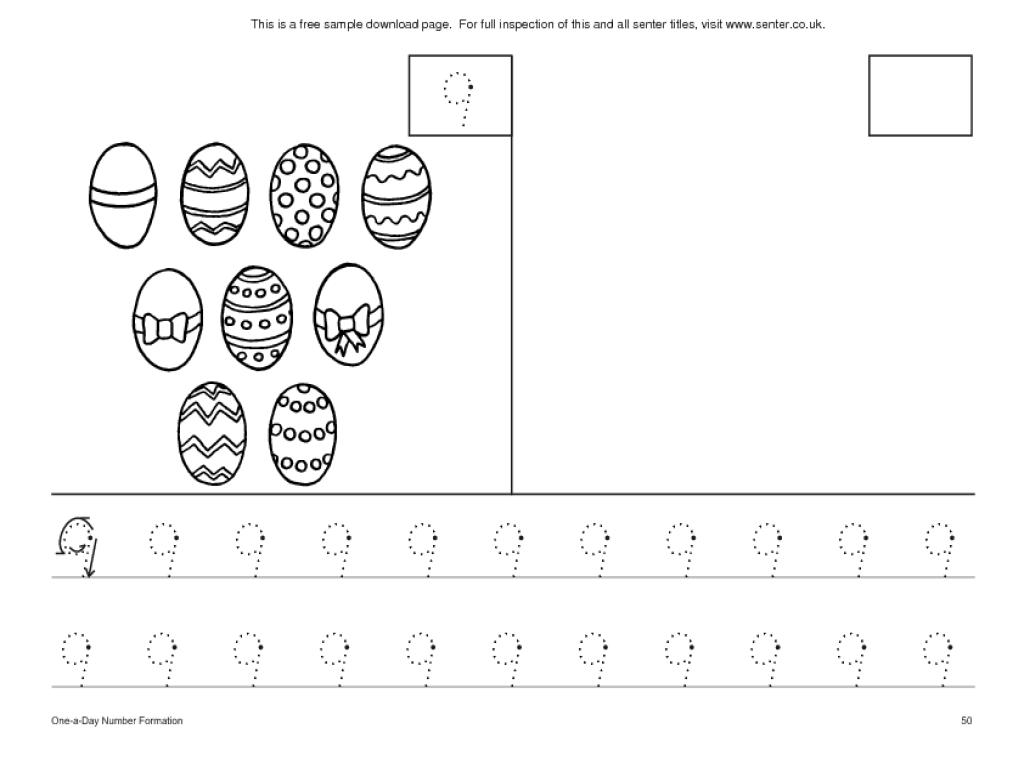 Number 9 Easter Worksheet Lesson Plan For Pre-K