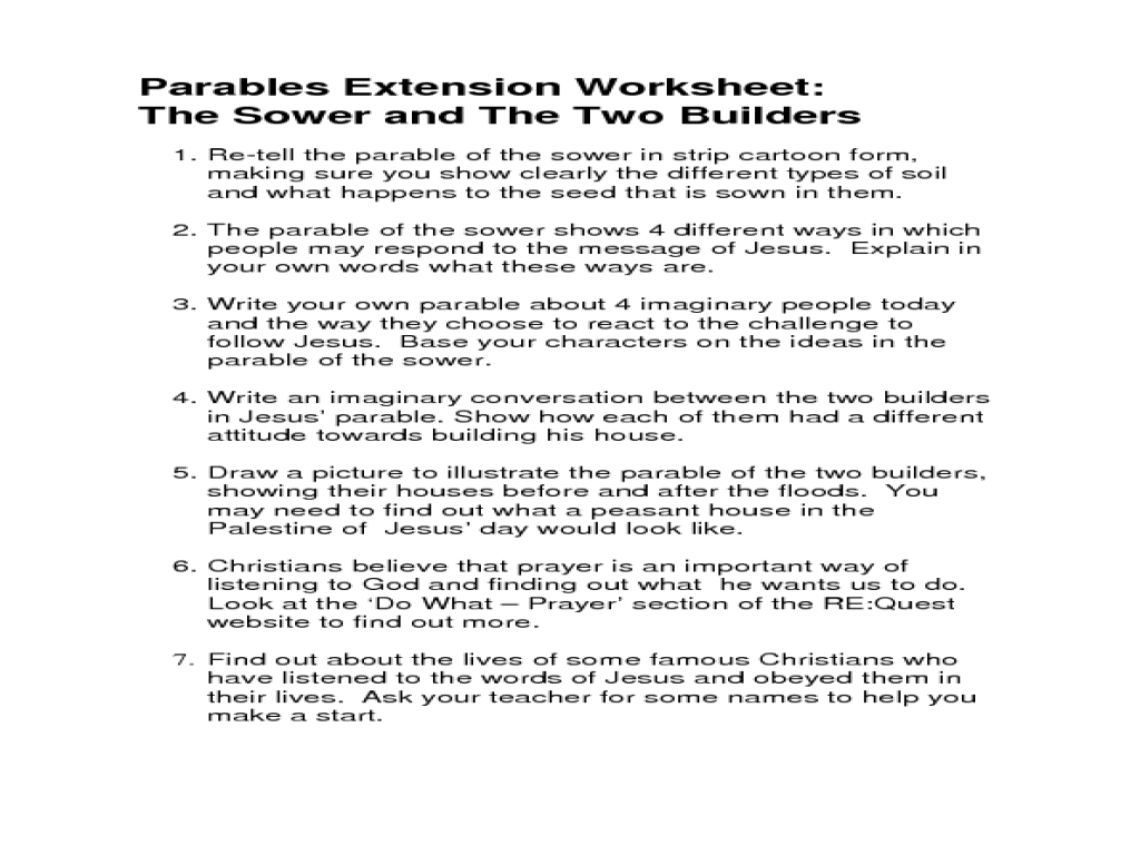 Workbooks walk two moons worksheets : Parables Extension Worksheet: the Sower and the Two Builders ...