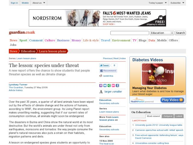 The Lesson: Species Under Threat Lesson Plan