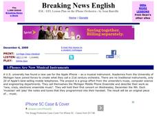 Breaking News English:   i-Phones Are Now Musical Instruments Worksheet