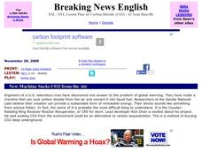 Breaking News English: New Machine Sucks CO2 from the Air Worksheet