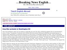 Breaking News English: Iraq War Protests in Washington DC Worksheet
